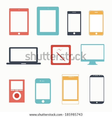 vector illustration of colorful gadgets on a white background - stock vector