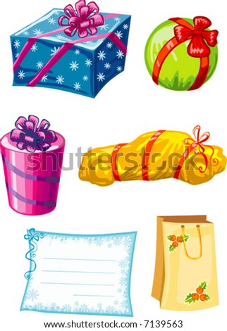 Vector illustration of colorful gifts with note decorated with bow and ribbons isolated on white background - stock vector