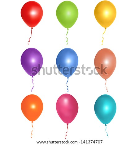 Vector illustration of colorful glossy balloons on white background - stock vector