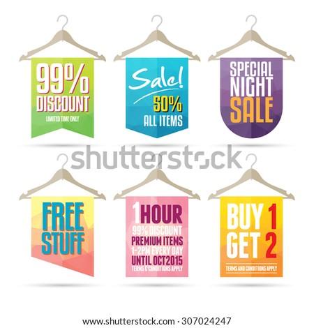 Vector illustration of colorful hanger sale labels. - stock vector