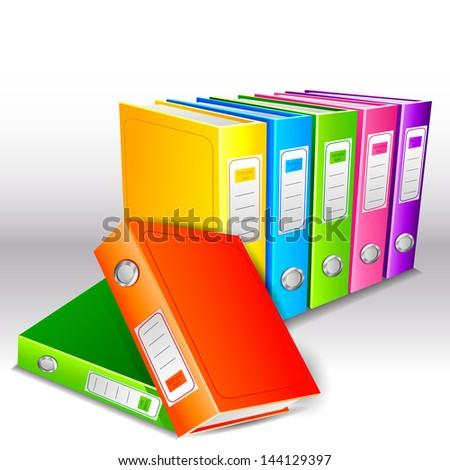 vector illustration of colorful hardbound folder file - stock vector