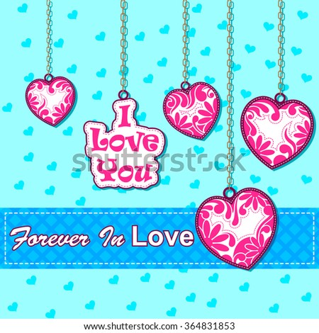 vector illustration of colorful heart in love Valentine's Day background - stock vector