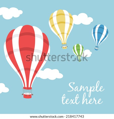 Vector illustration of colorful hot air balloons on the blue sky - stock vector