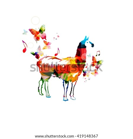 Vector illustration of colorful lama with butterflies - stock vector