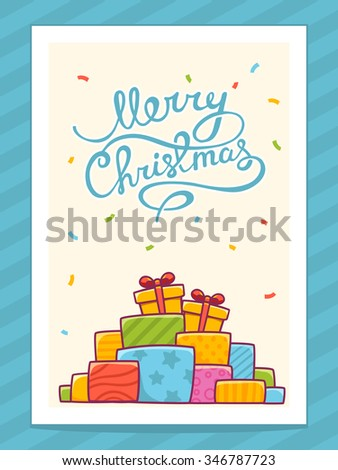 Vector illustration of colorful pile of christmas gifts and hand written text on light background with white frame.Bright color.Hand draw line art design for web,site,banner,poster and greeting card - stock vector