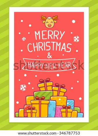 Vector illustration of colorful pile of christmas gifts and hand written text on red background with white snowflakes.Bright color.Hand draw line art design for web, site,poster and greeting card - stock vector