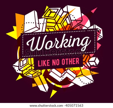 Vector illustration of colorful pink and yellow abstract composition with frame and white text on dark background. Line art concept design for web, site, banner, poster, board, paper print, t-shirt. - stock vector
