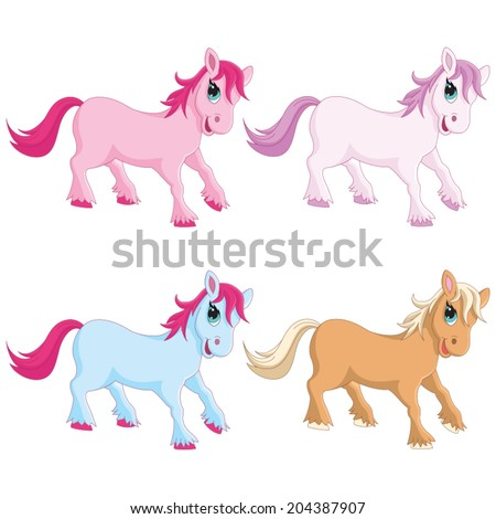 Vector Illustration Of Colorful Pony - stock vector