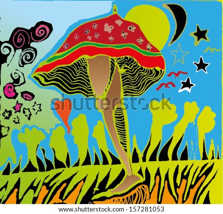 Vector illustration of colorful psychedelic surrealism childish drawing. Leg, stars, birds, mushroom, umbrella, monster. Hand drawn. - stock vector