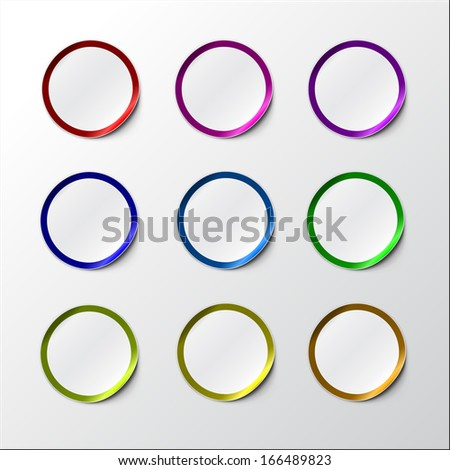 Vector illustration of Colorful Realistic Round Stickers or Notes. With peeled off corner and shadow. Place for your text. EPS 10. Dark colored set. - stock vector
