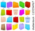 vector illustration of colorful shopping bag isolated on white background - stock vector