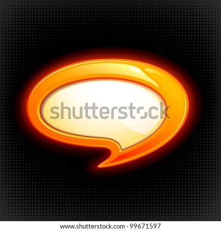 vector illustration of colorful speech bubble on abstract background - stock vector