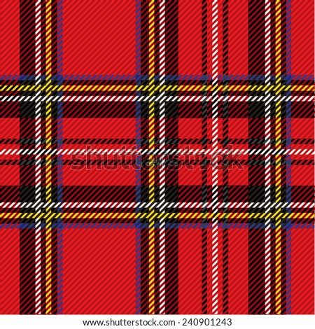 Vector illustration of colorful tartan, plaid fabric. Scotland kilt textile, red, black. - stock vector