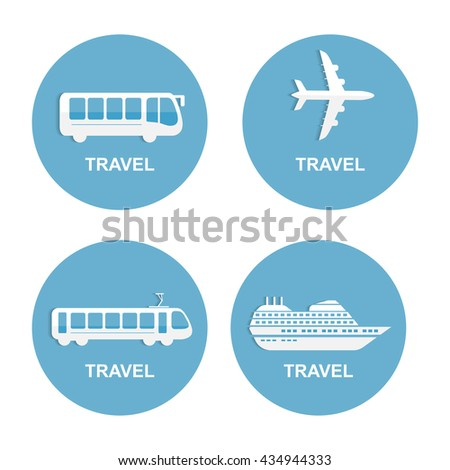 Vector illustration of colorful transport related icons. Bus ship, train, jet travel symbol - stock vector