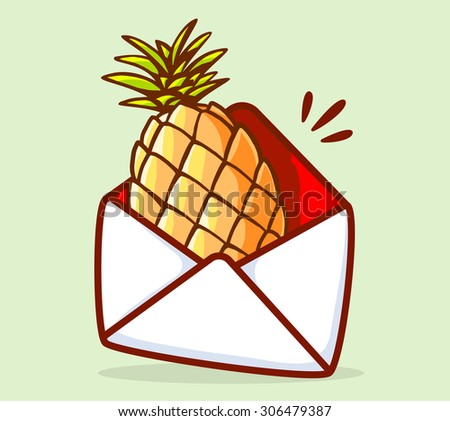 Vector illustration of colorful yellow pineapple in white envelope on green background. Hand draw line art design for web, site, advertising, banner, poster, board and print. - stock vector