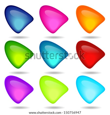 Vector illustration of coloured glossy and shiny network Triangle icon.  - stock vector