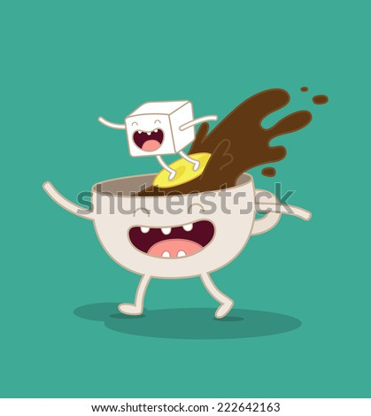 vector illustration of comic characters coffee and sugar  - stock vector