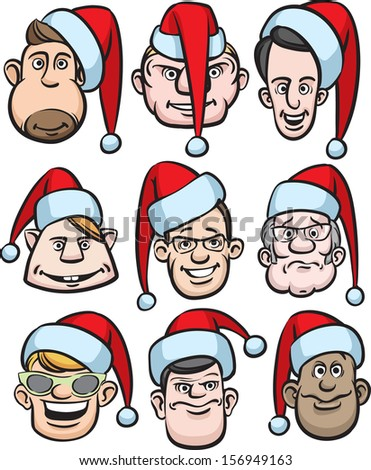 Vector illustration of comic men faces in santa hats. Easy-edit layered vector EPS10 file scalable to any size without quality loss. High resolution raster JPG file is included. - stock vector