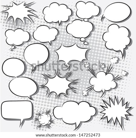 vector illustration of comic speech bubbles - stock vector