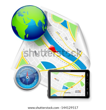 vector illustration of compass and GPS device on road map - stock vector