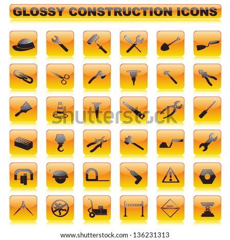 vector illustration of complete set of glossy construction button - stock vector
