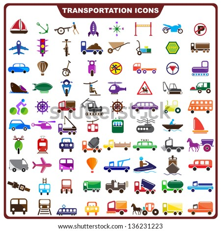vector illustration of complete set of transportation icon - stock vector
