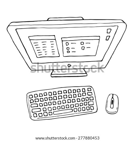 Vector illustration of computer. Black and white - stock vector