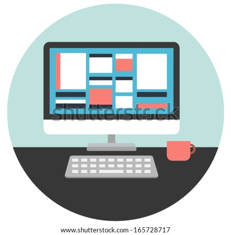 Vector illustration of Computer desk, workplace with stylish modern colorful user interface on a screen in flat style - stock vector
