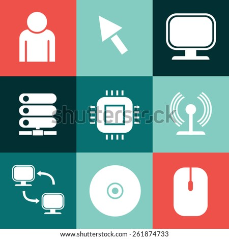 Vector illustration of computer icons set - stock vector