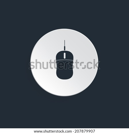Vector illustration of computer mechanical mouse with left, right buttons and wheel Input two dimensional device that is connected to computer via serial usb or PS/2 port. Scrolling action. - stock vector