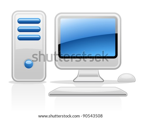Vector illustration of computer on white background - stock vector