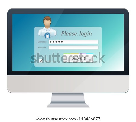 Vector illustration of computer security form - stock vector