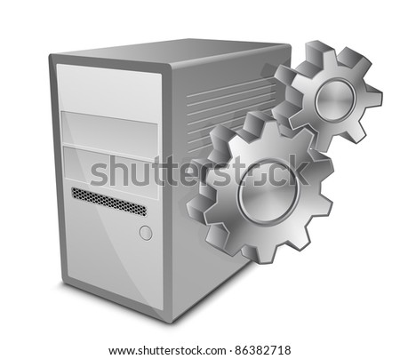 Vector illustration of computer server and gears - stock vector