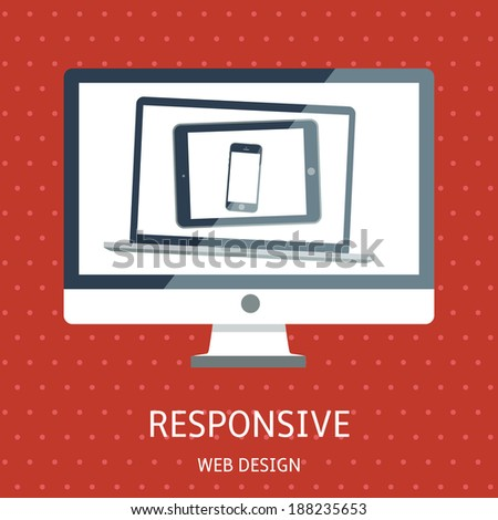 Vector illustration of concept responsive web design on red background - stock vector