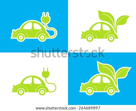 Vector illustration of conceptual electric car green icon on white and blue background  - stock vector