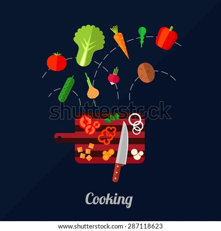 Vector illustration of cooking vegetables with carving board and knife. Flat style. - stock vector