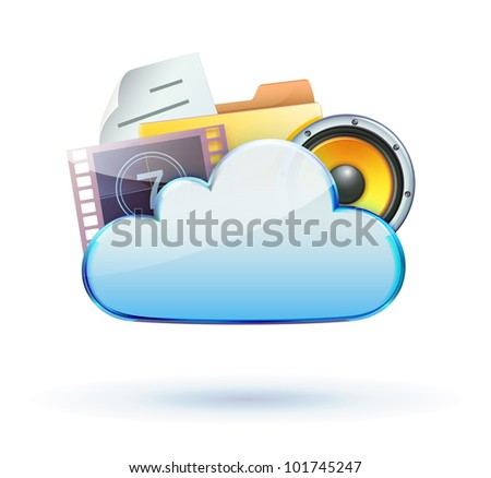Vector illustration of cool cloud based media sharing concept icon - stock vector