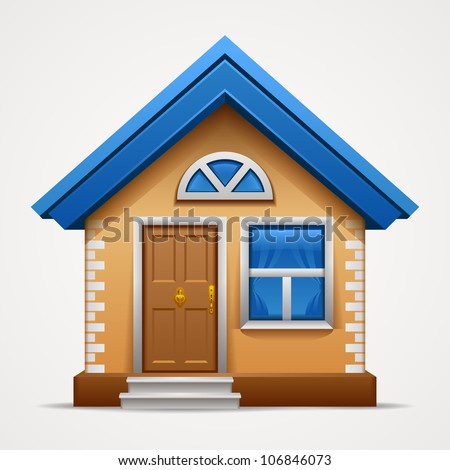 Vector illustration of cool detailed house icon isolated on white background - stock vector