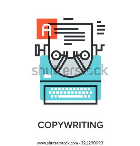 Vector illustration of copywriting flat line design concept. - stock vector