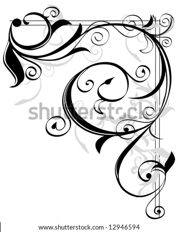 vector illustration of corner floral element - stock vector