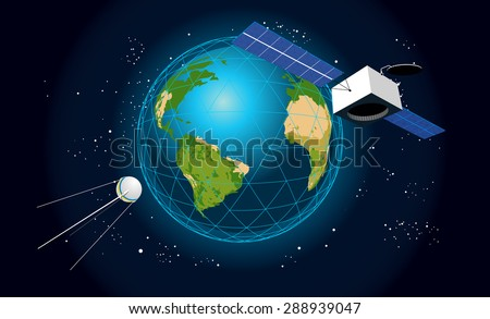Vector illustration of cosmic landscape with shining earth, stars and satellites. May be used as banner or flyer. - stock vector