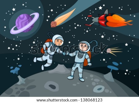 vector illustration of 	 cosmonauts  - stock vector