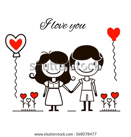 Vector illustration of couple with balloon and flowers in shape heart isolated on white background. Romantic concept for Valentine's day or wedding. Happy Valentine's day greeting card design. - stock vector