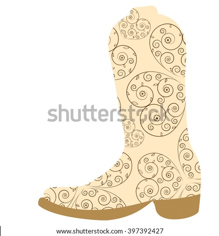 Vector illustration of cowboy boot. Cowboy boot icon - stock vector