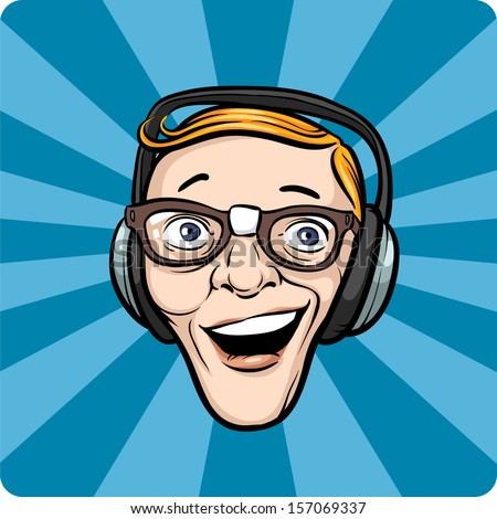 Vector illustration of crazy face with headphones. Easy-edit layered vector EPS10 file scalable to any size without quality loss. High resolution raster JPG file is included. - stock vector