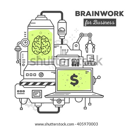 Vector illustration of creative professional mechanism of brain work with text on white background.Draw flat thin line art style monochrome design with green color.Modern concept to earn on brain work - stock vector