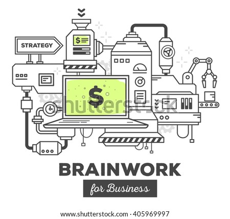 Vector illustration of creative professional mechanism to make money on white background. Draw flat thin line art style monochrome design with green color. Modern concept to make money in business - stock vector