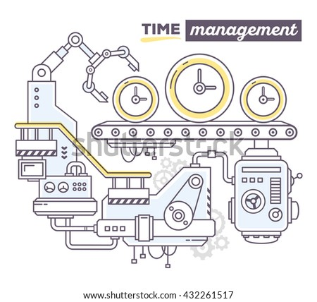 Vector illustration of creative professional mechanism to produce clock on the conveyor belt, text time management on white background. Draw flat thin line art style design of business time management - stock vector
