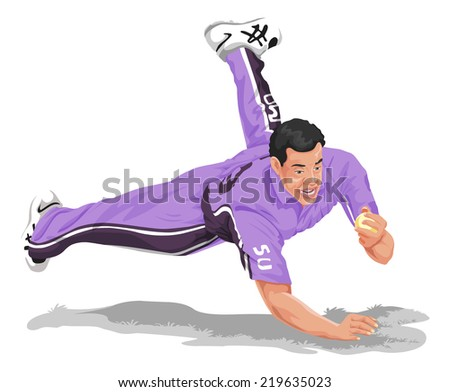 Vector illustration of cricket fielder diving and taking catch. - stock vector