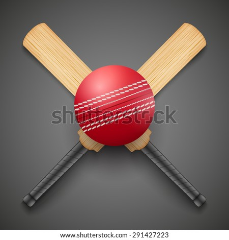 Vector illustration of cricket leather ball and wooden bats. Symbol of sports. Dark background. - stock vector